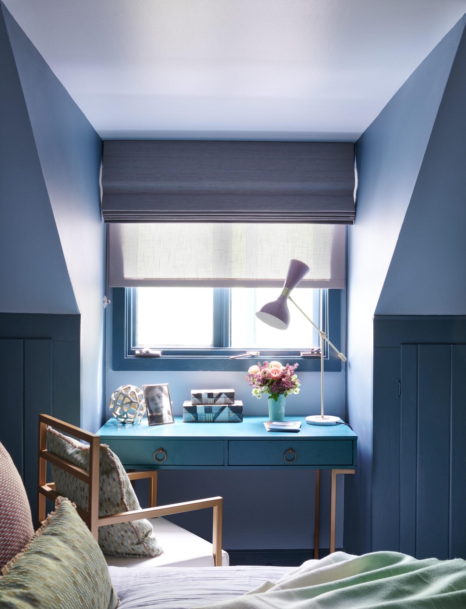 blue and purple desk nook