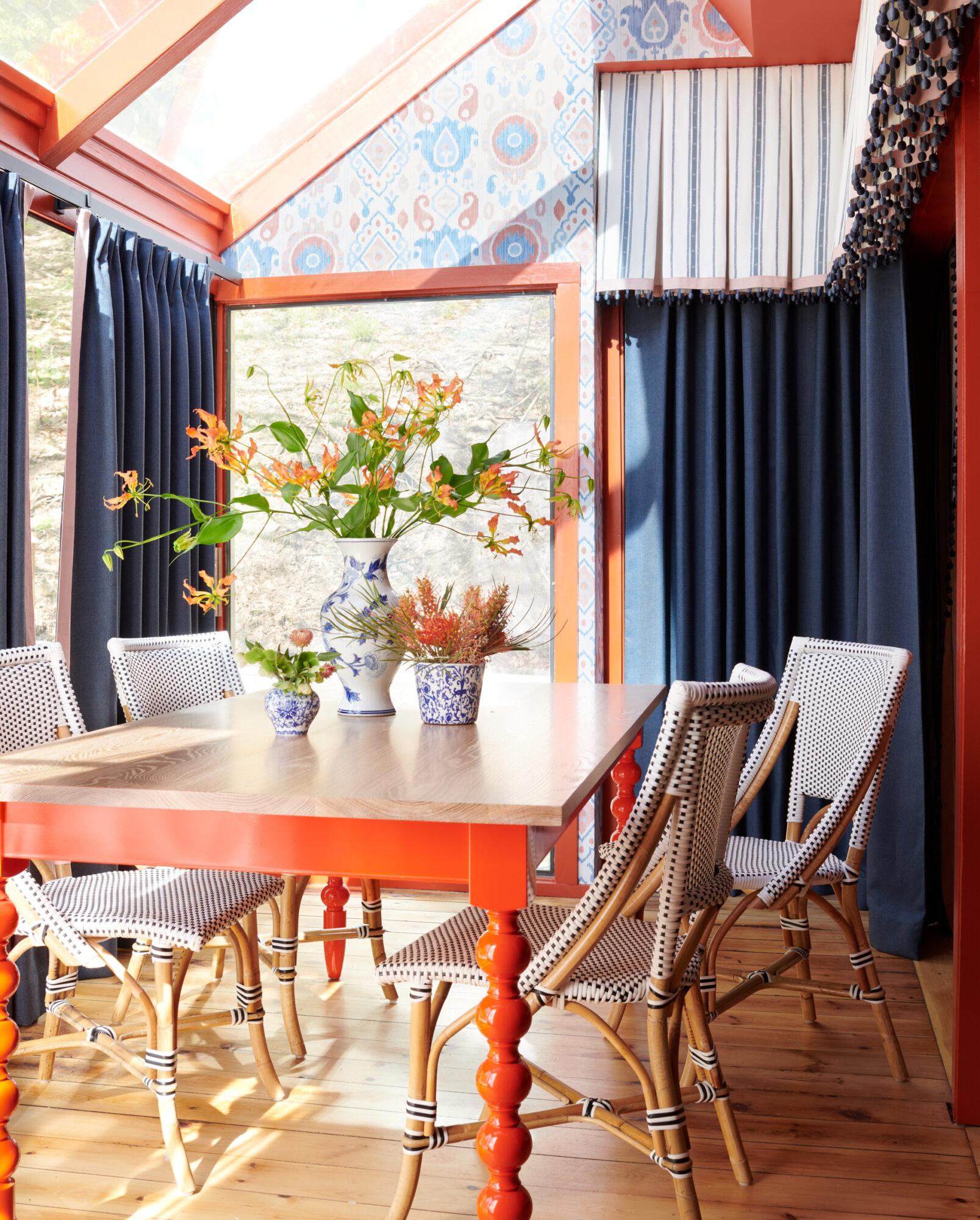 orange and navy dining room