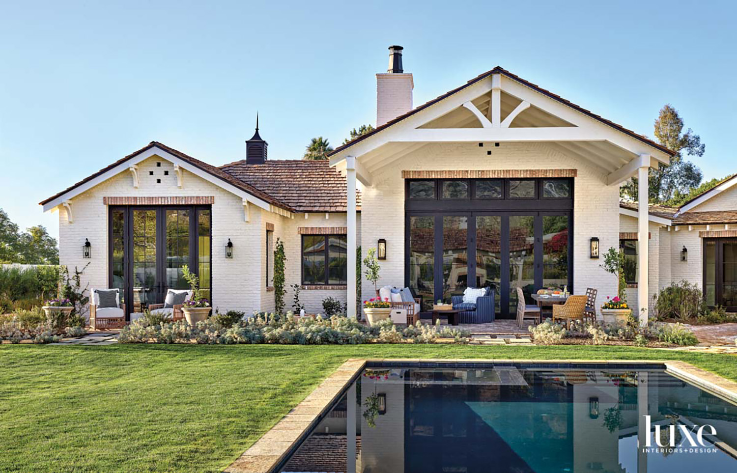 A white brick home with...