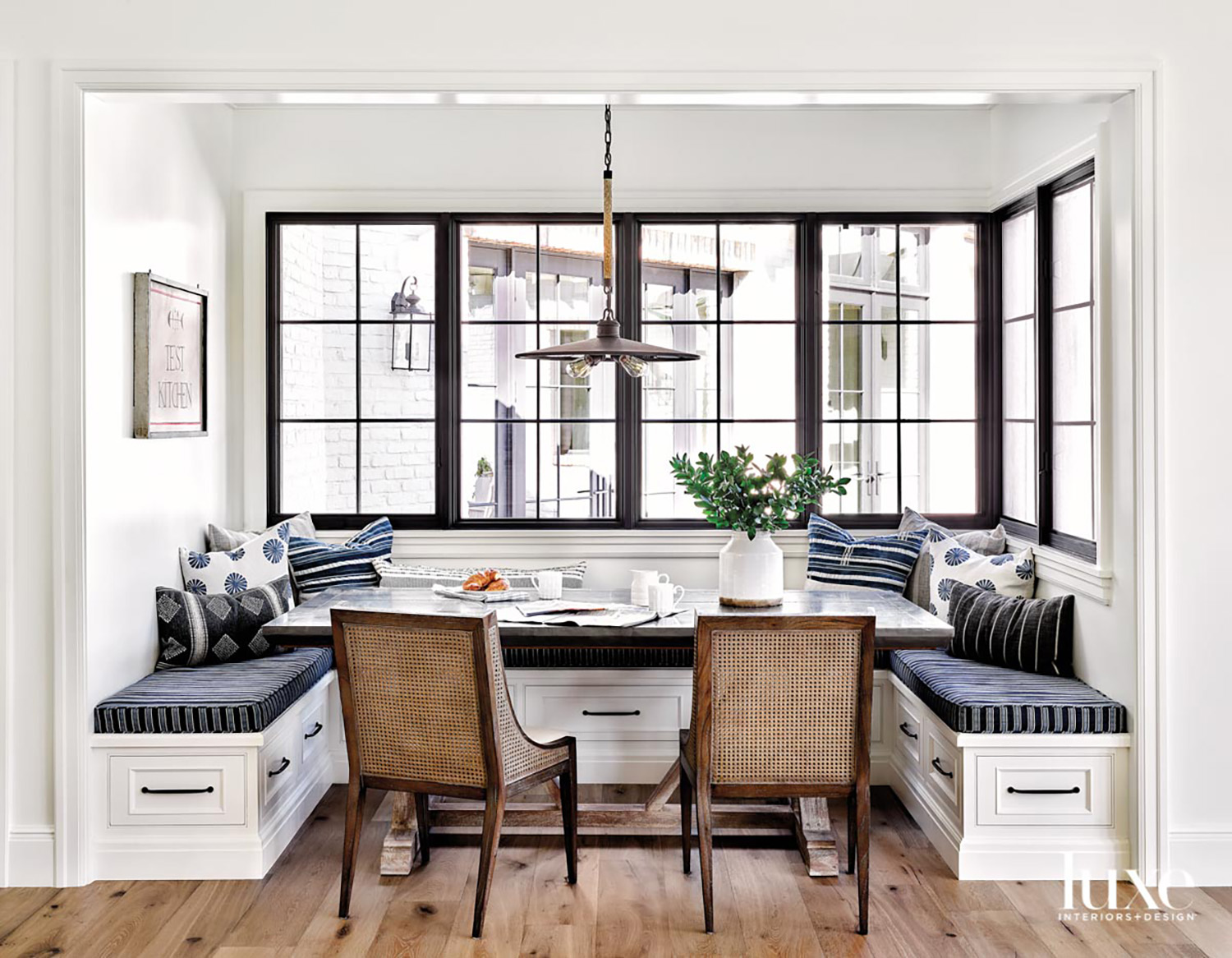 A breakfast nook with a...