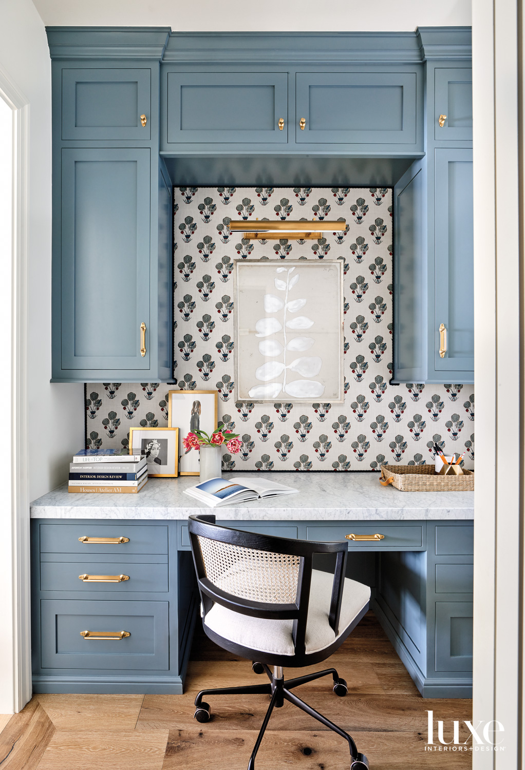 A desk nook with blue...