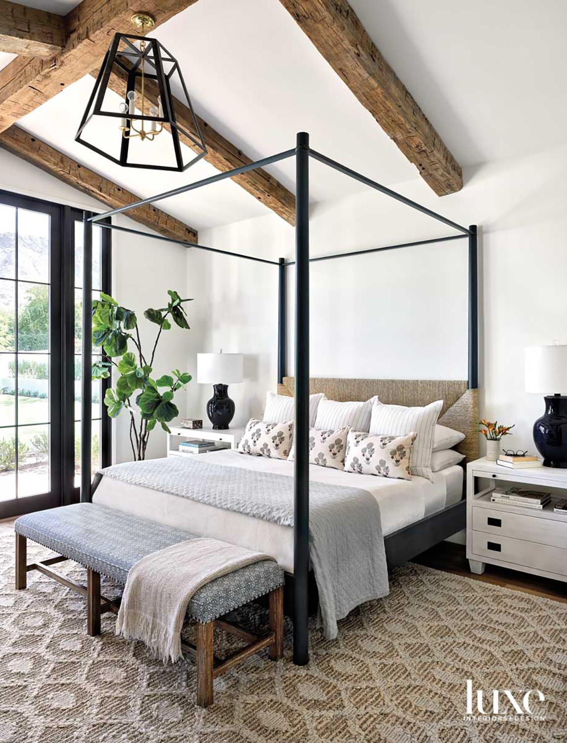 A fourposter bed in a...