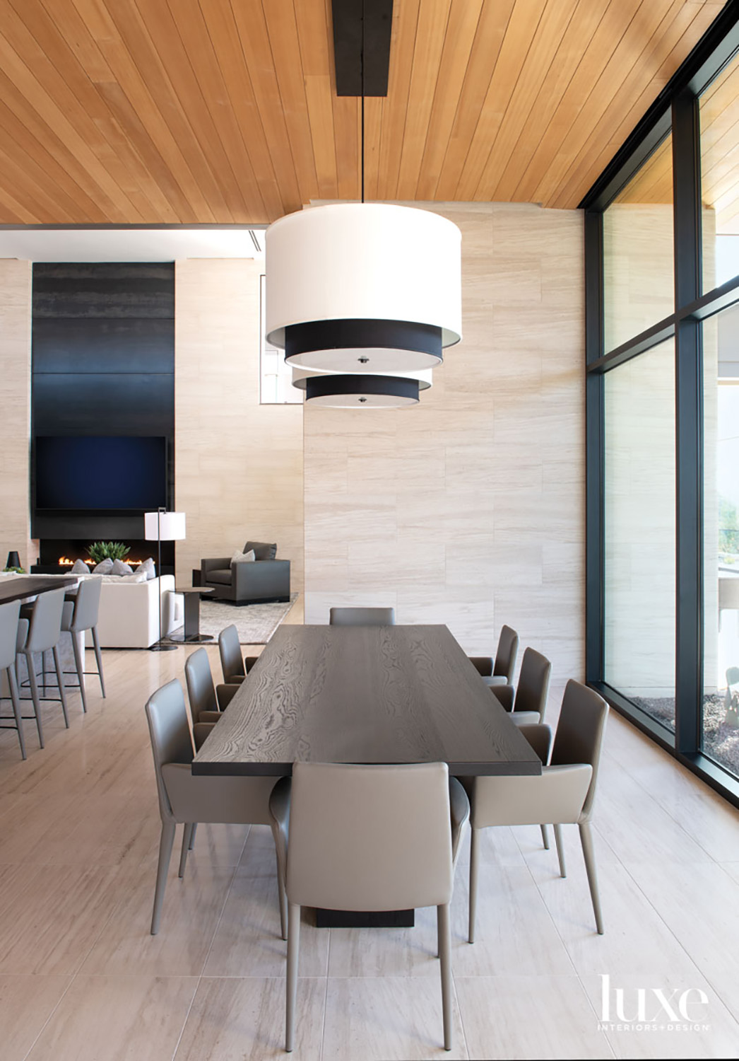 A casual dining area with...