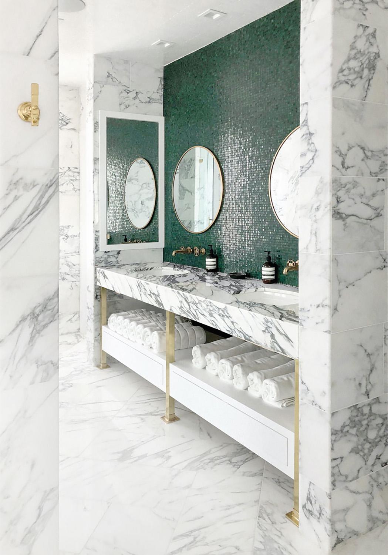 modern main bathroom with green backsplash
