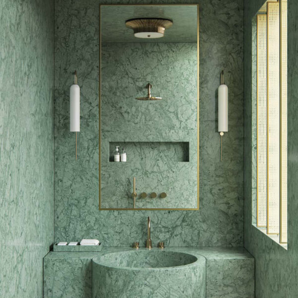 Step Inside This Dazzling Green Marble Bathroom