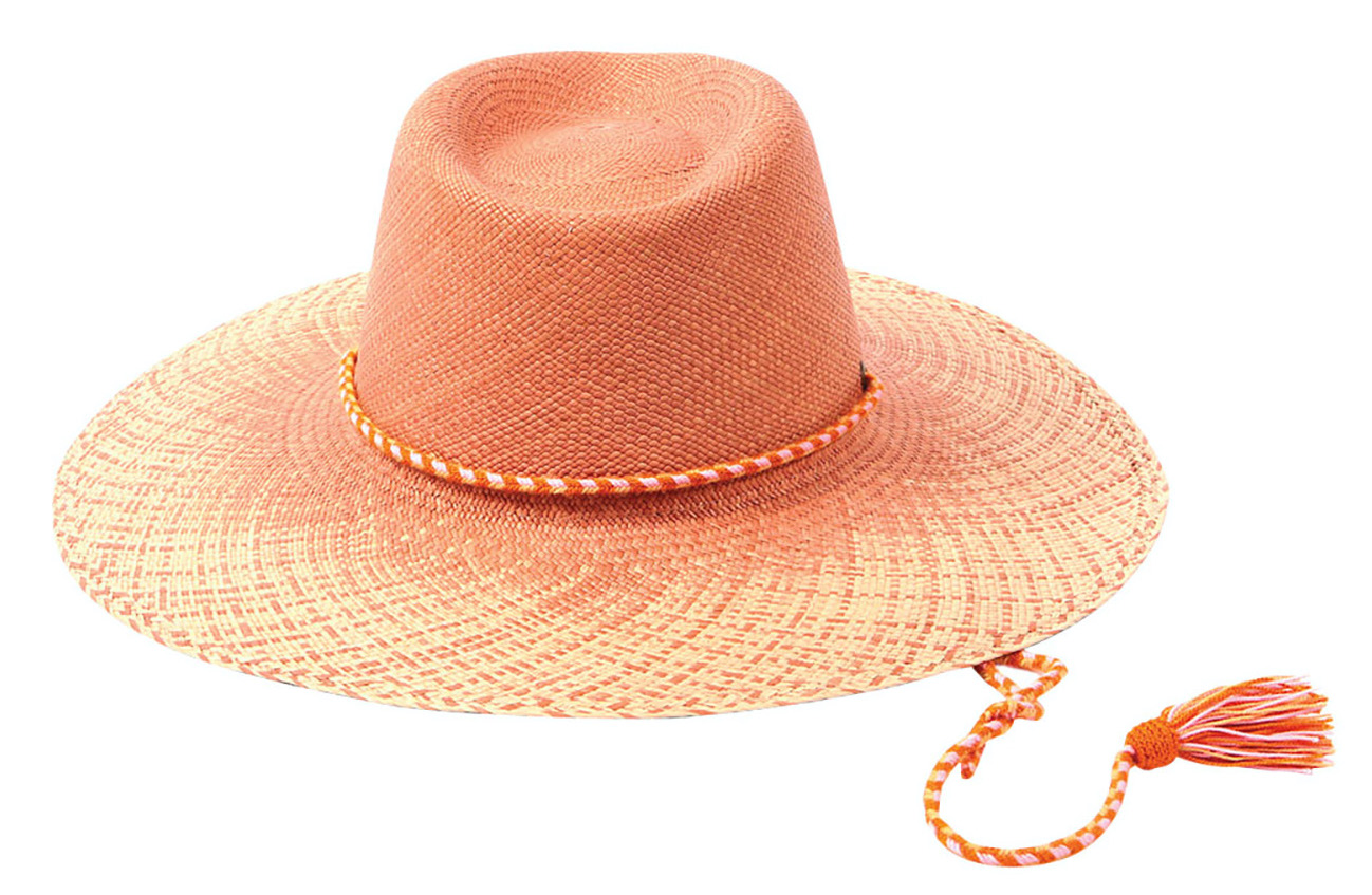 coral straw hat with fringe