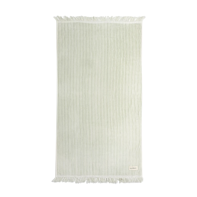 sage striped beach towel