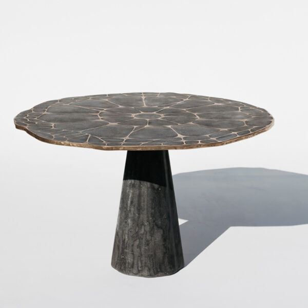 Inlaid Bronze And Steel Give These Concrete Tables An Organic Feel