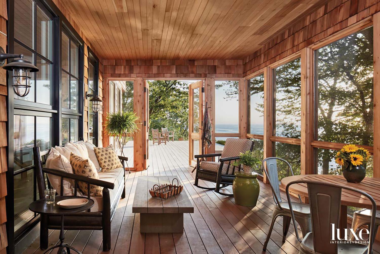 A screen porch overlooking a...