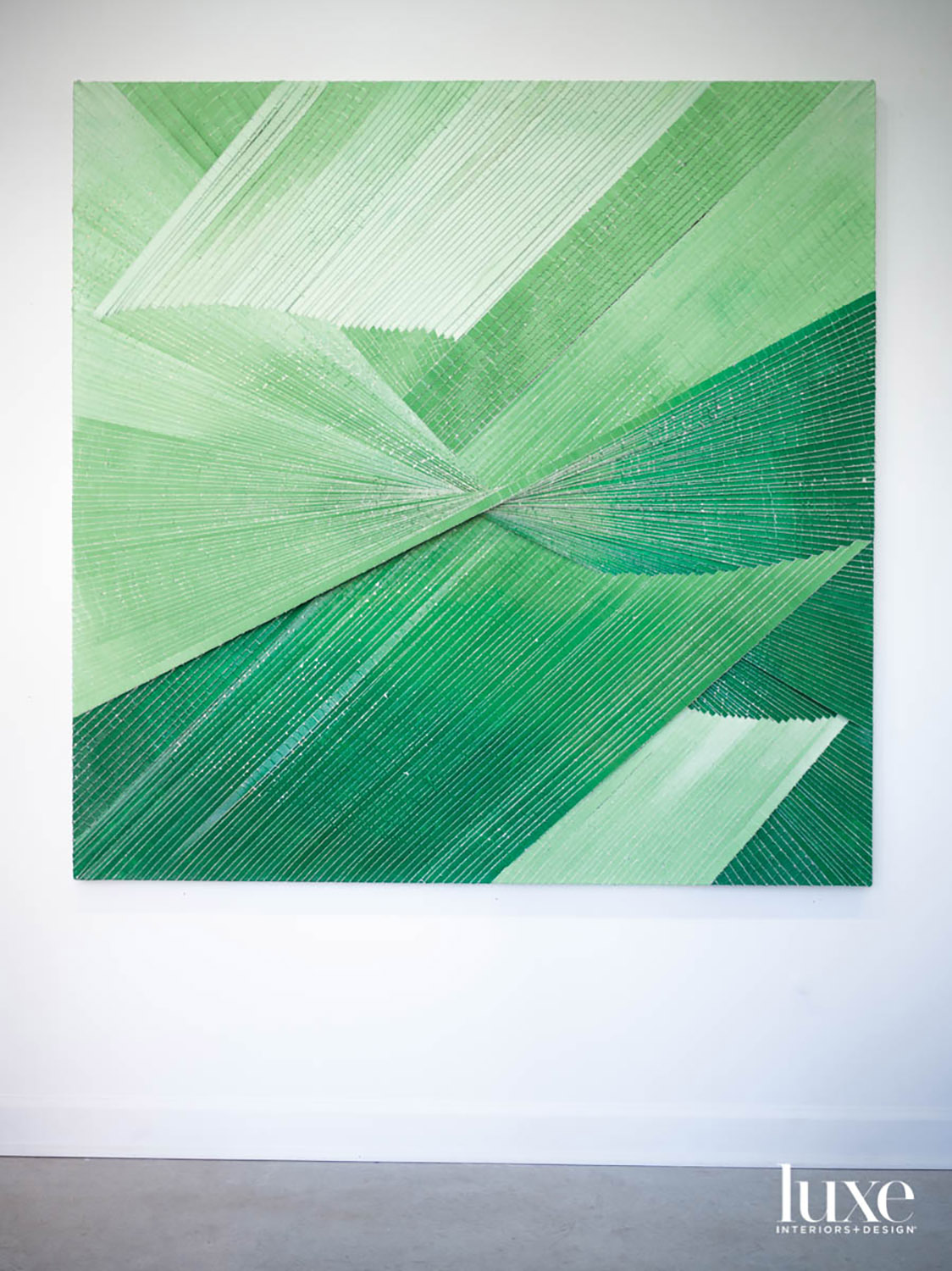 A piece of art in shades of green.