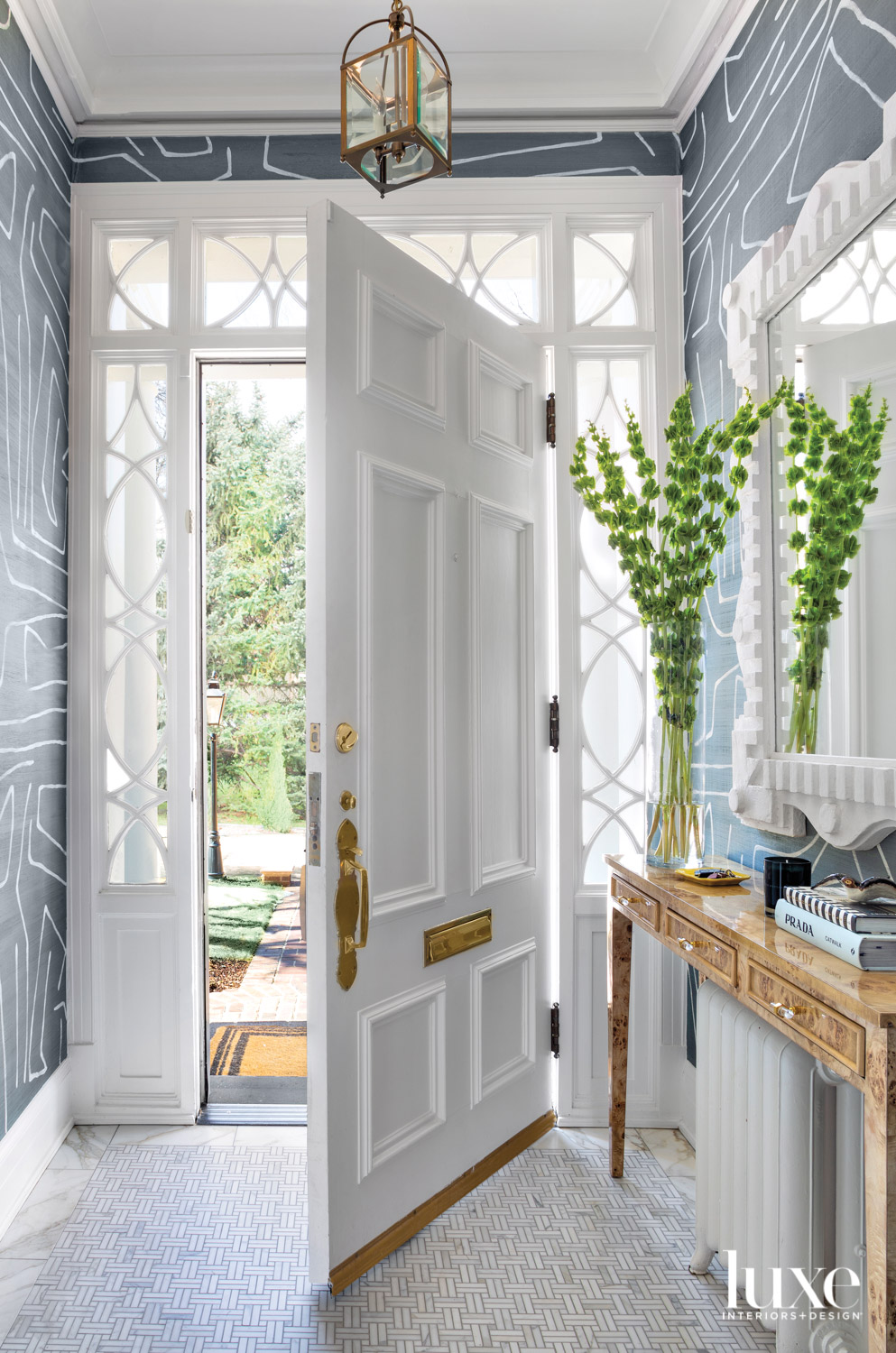 white door entry with graphic...