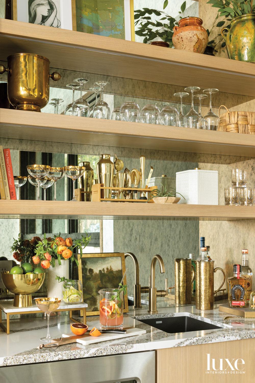 A dining room bar has...