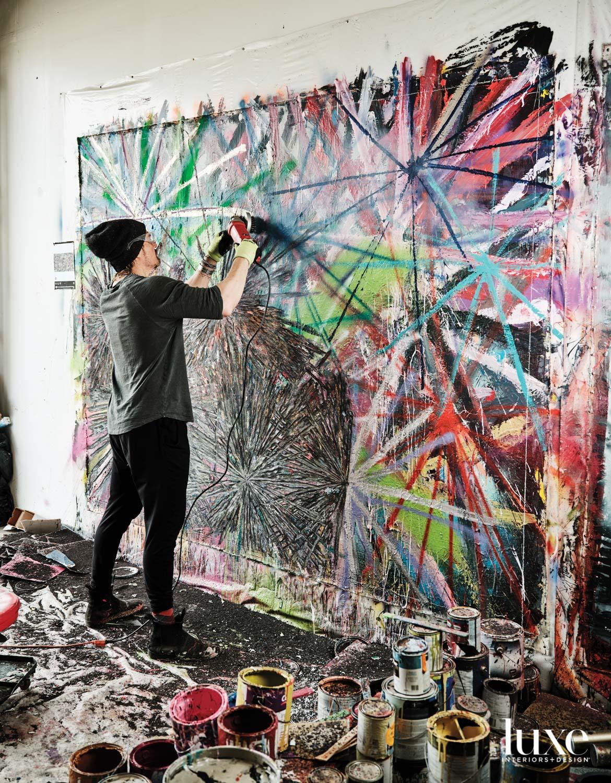 Andrew Jensdotter at work in his studio.