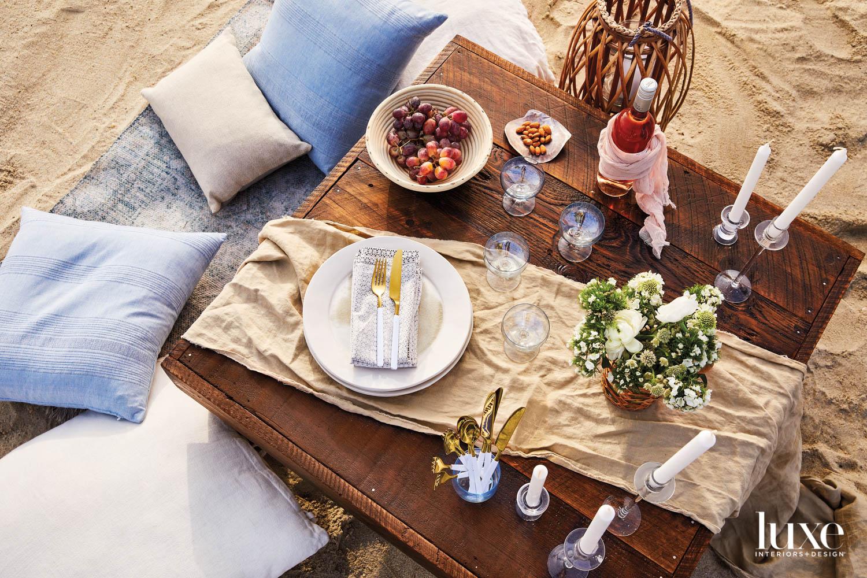 destination haus picnic on beach