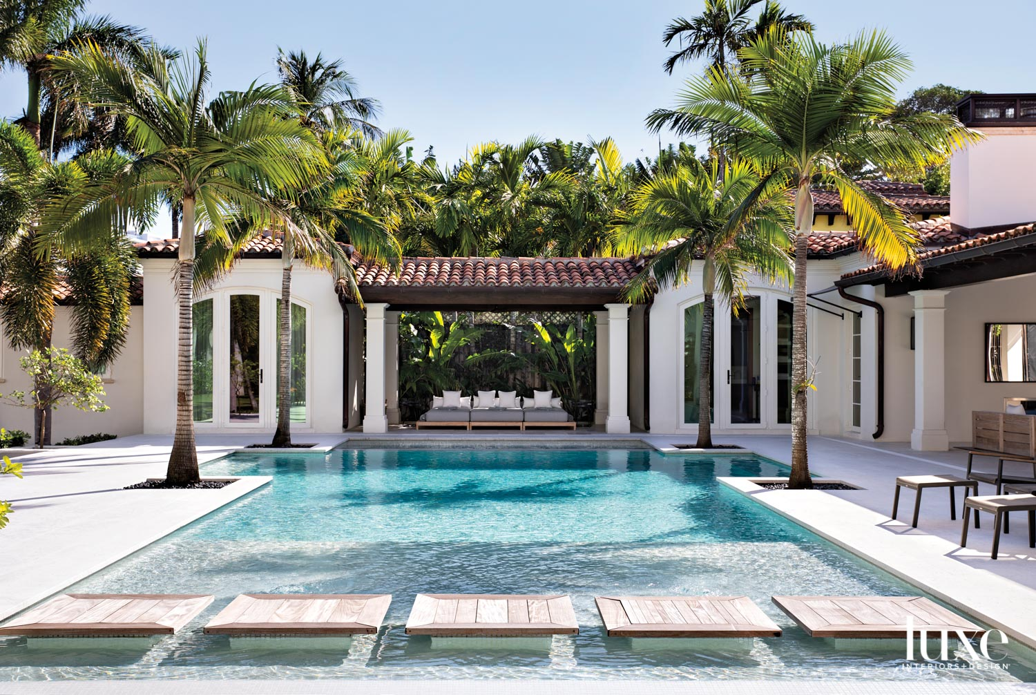 pool with cabana on mediterranean-style...