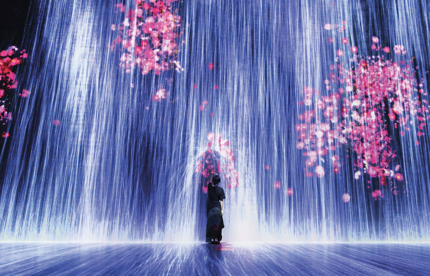 Blue and pink art installation