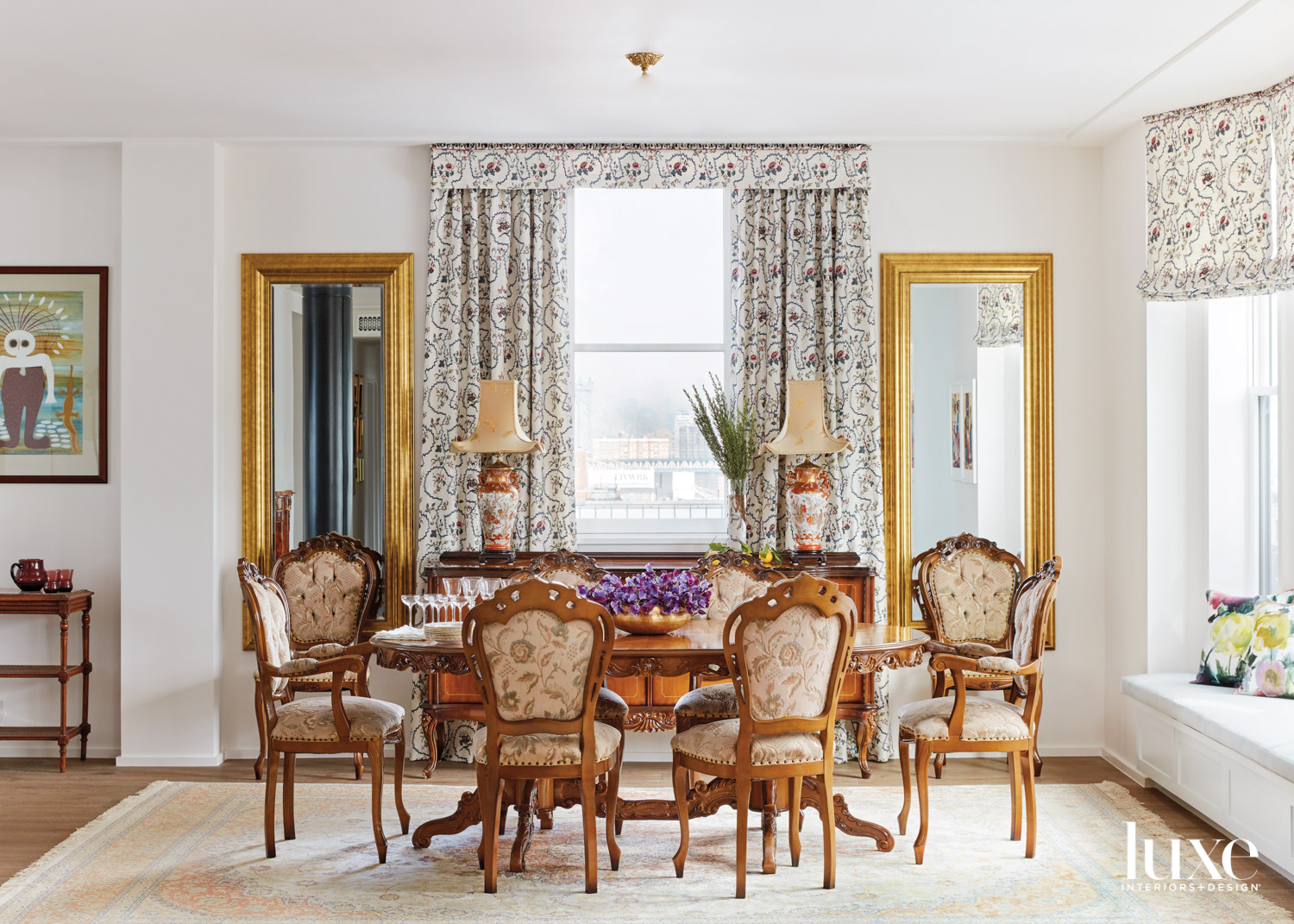 traditional dining room with antique...