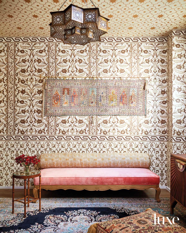 prayer room with schumacher wallpaper