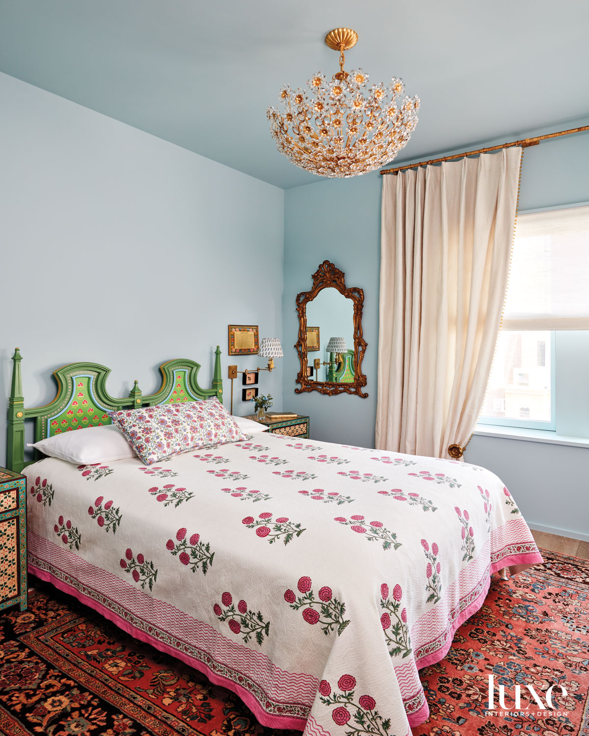 blue bedroom with persian rug...
