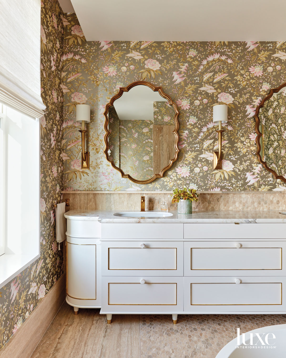main bathroom with floral and...