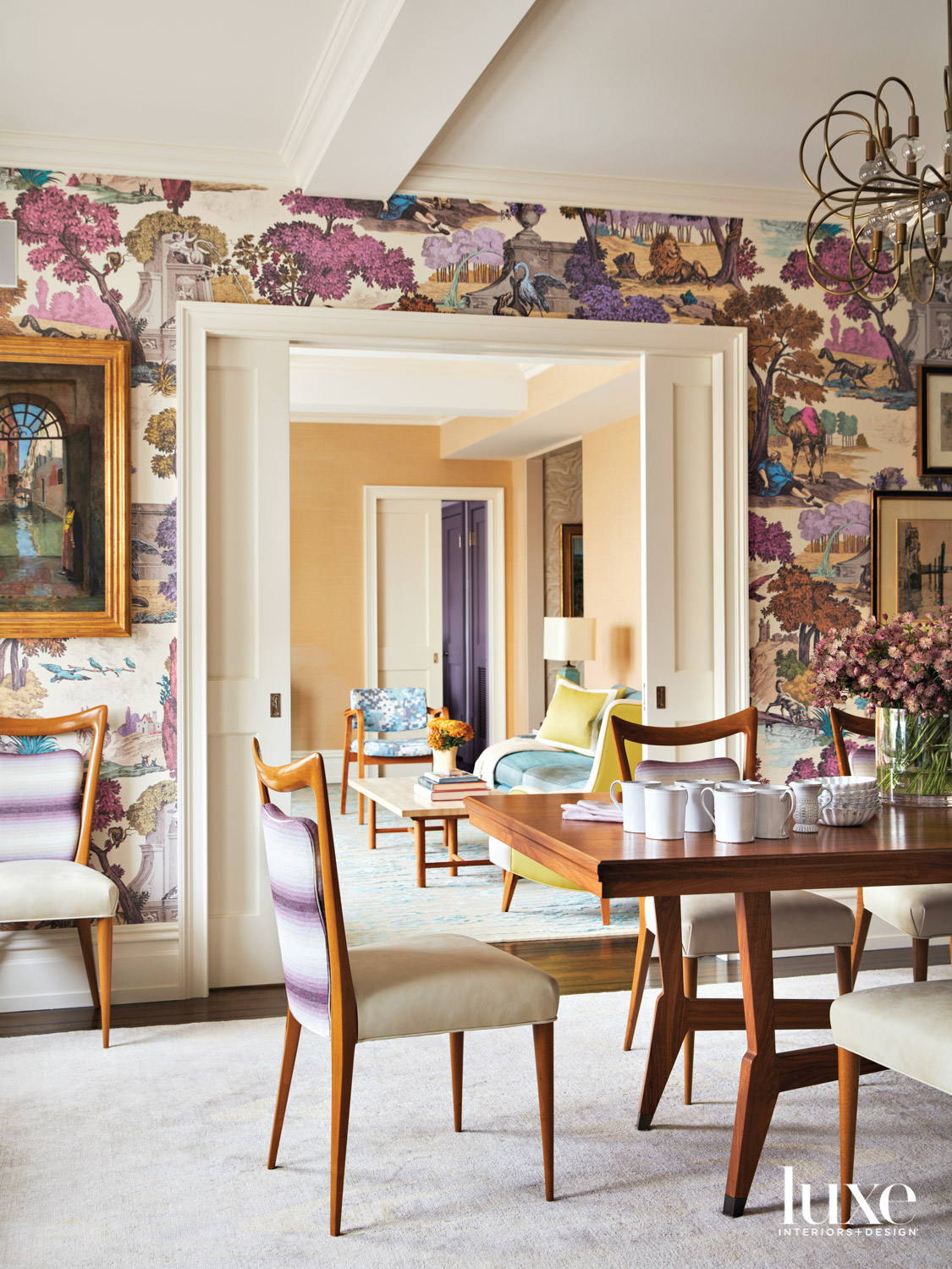 floral pattern dining room