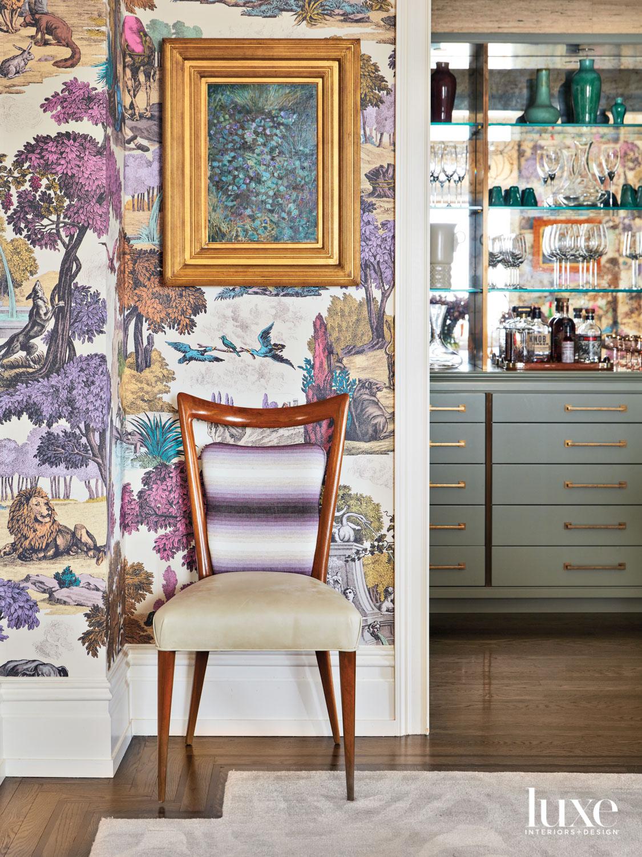 purple pattern wallpaper near bar...