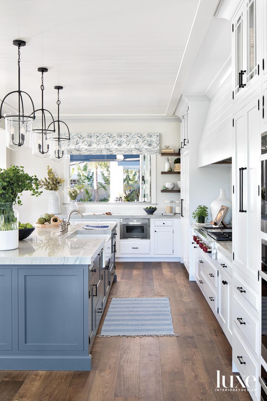 kitchen with three pendants, blue...