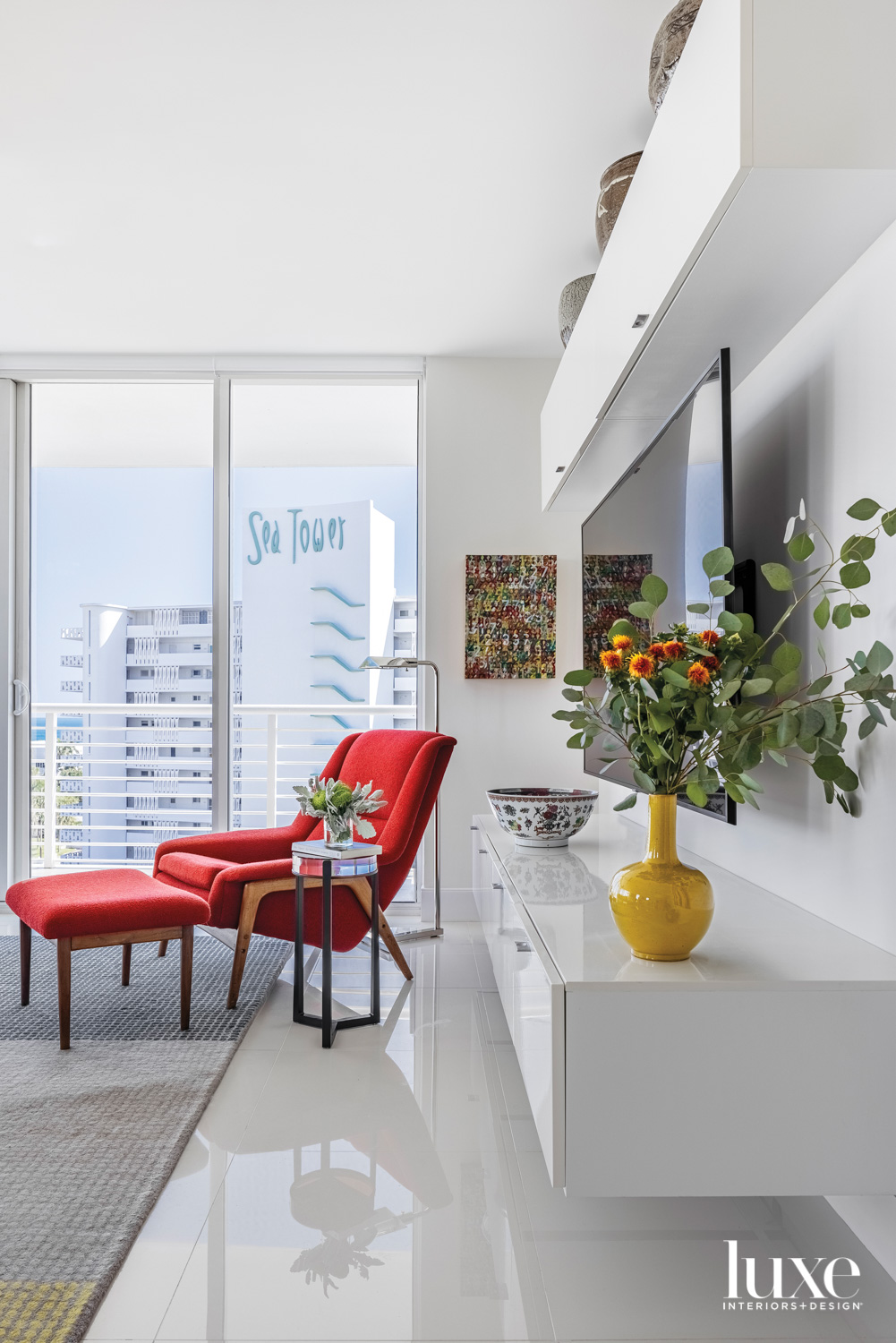red chair and ottoman in...