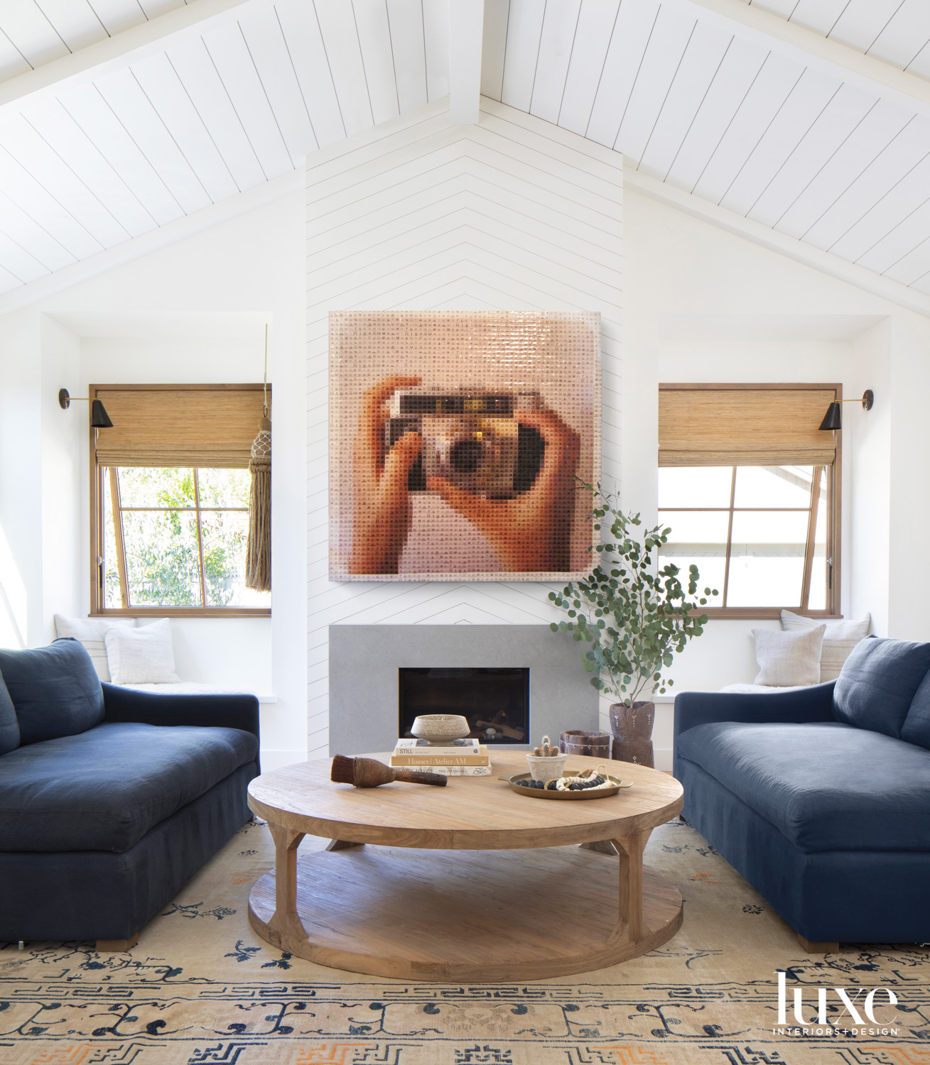 An artwork over the fireplace...