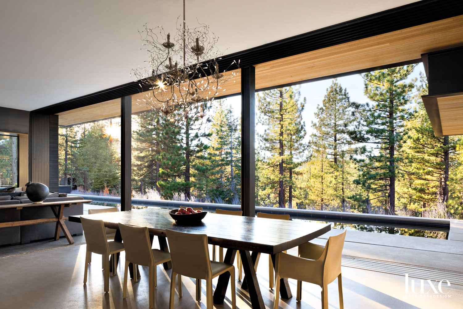 A dining room has an...