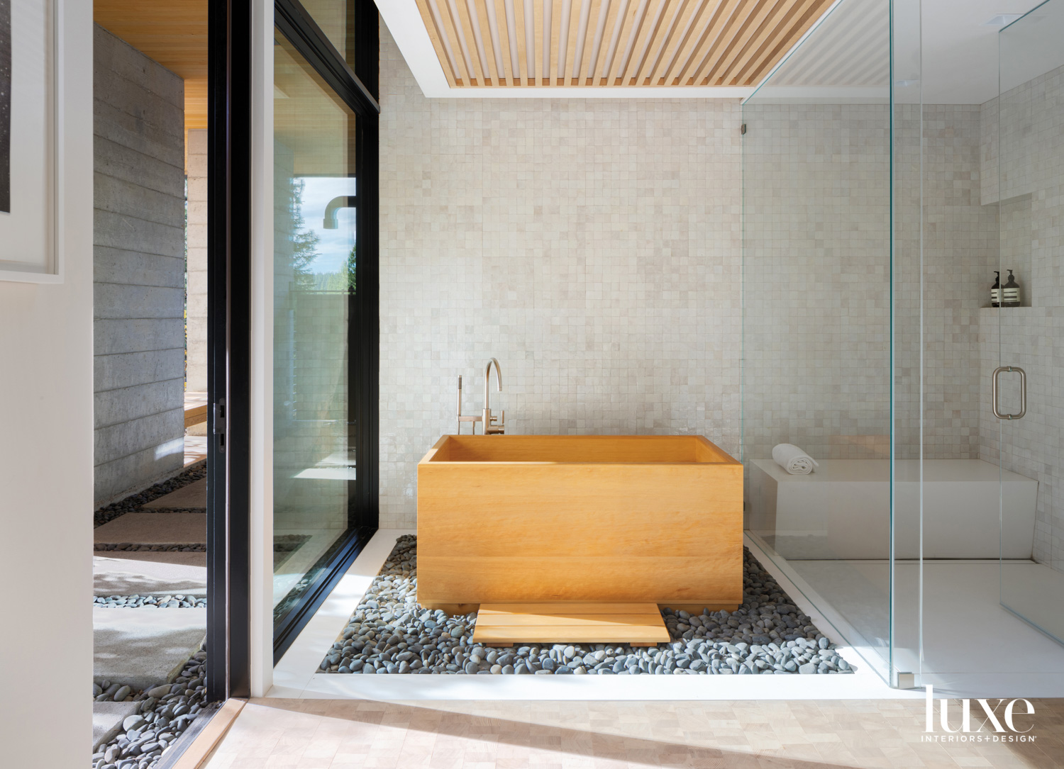 A wooden tub is featured...