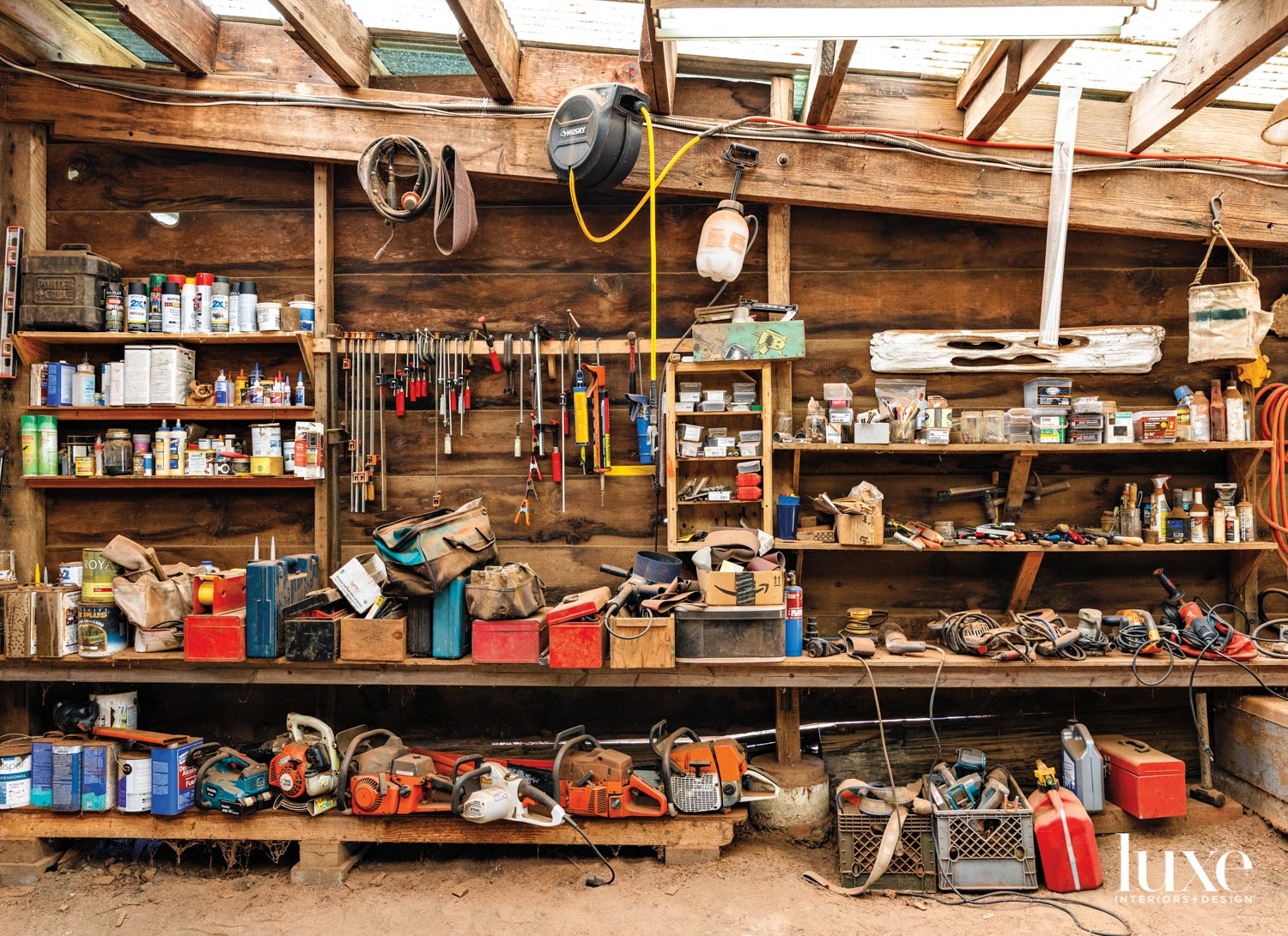 A workbench is filled with tools.