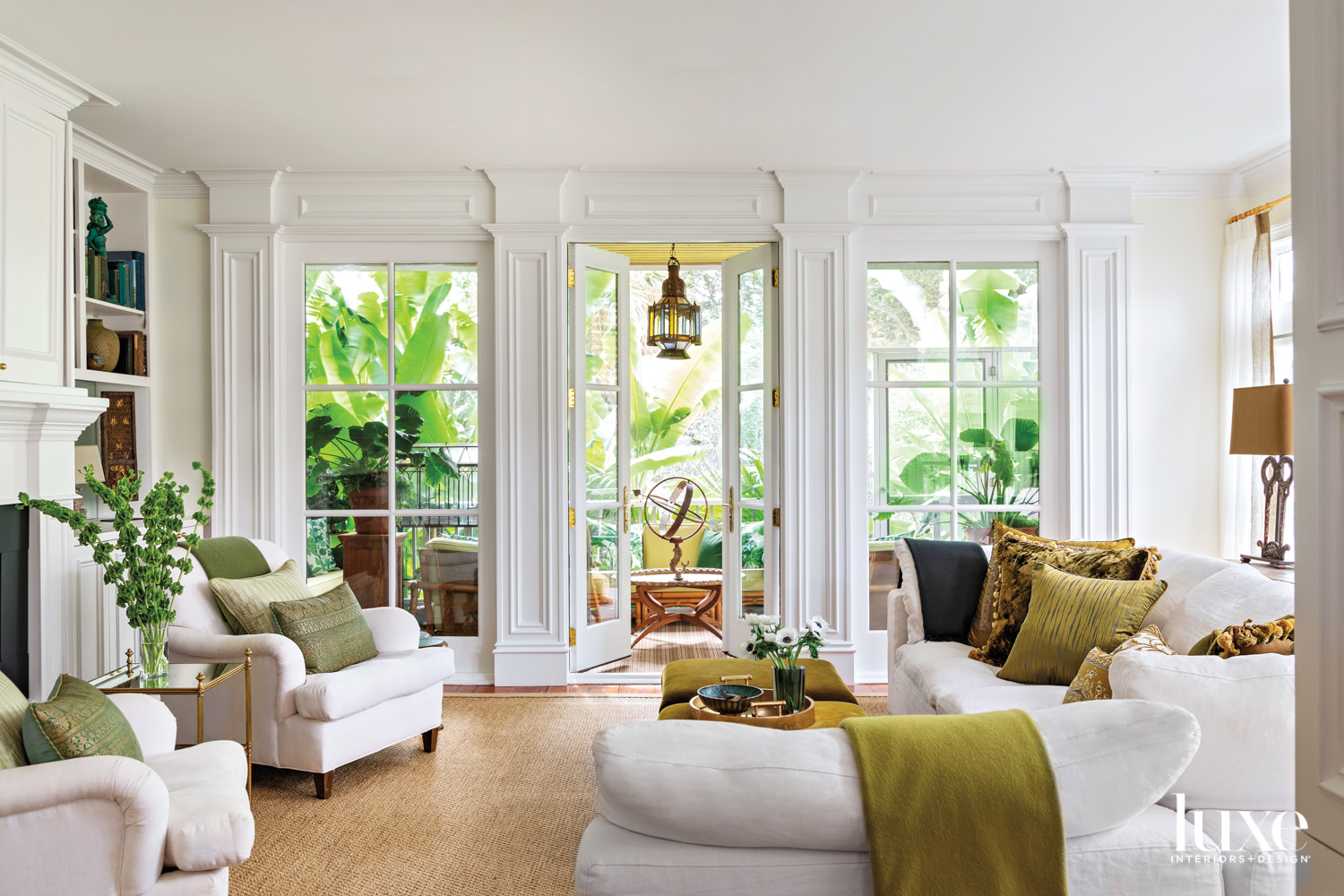 White living room with large...