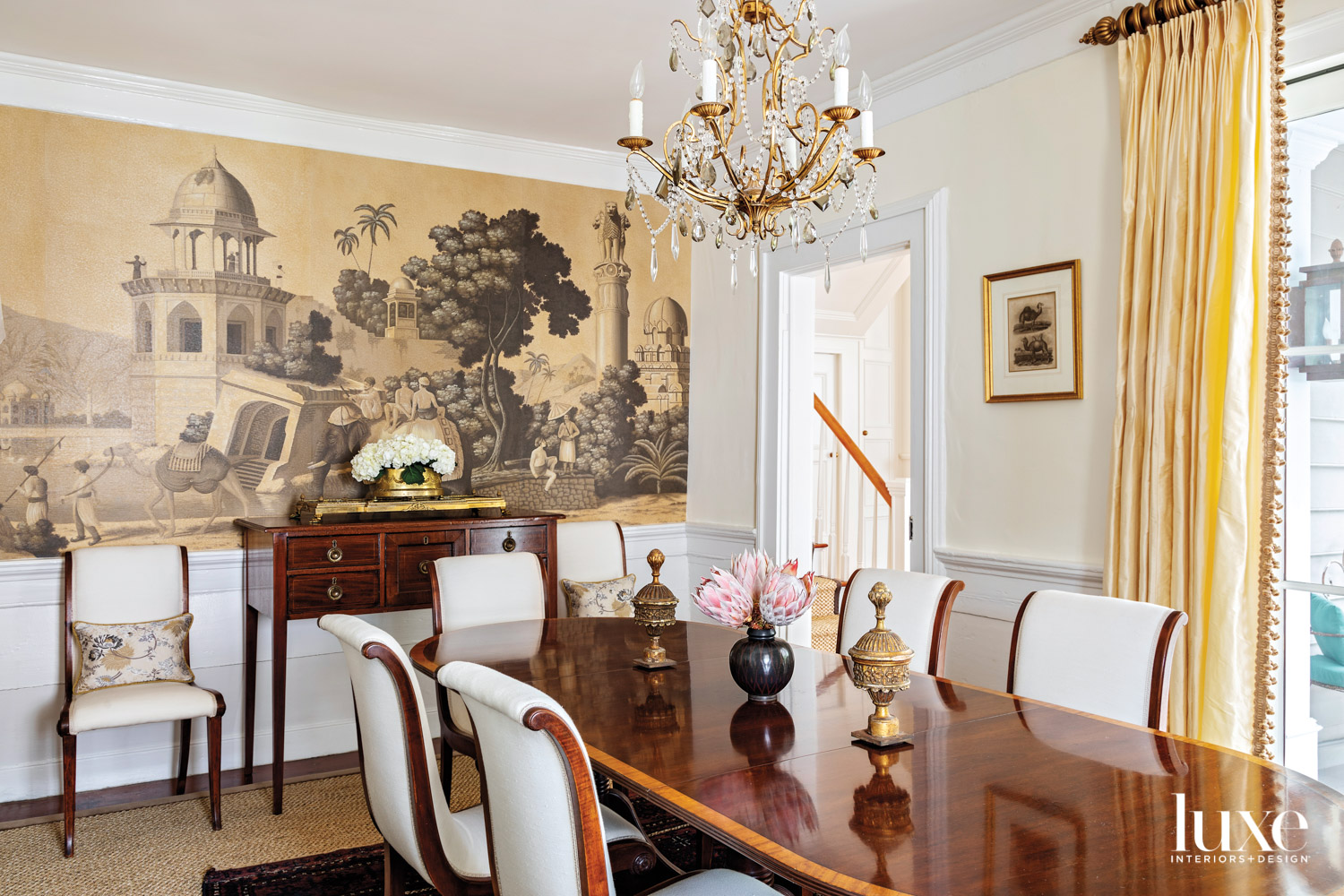Dining room with mahogany table,...