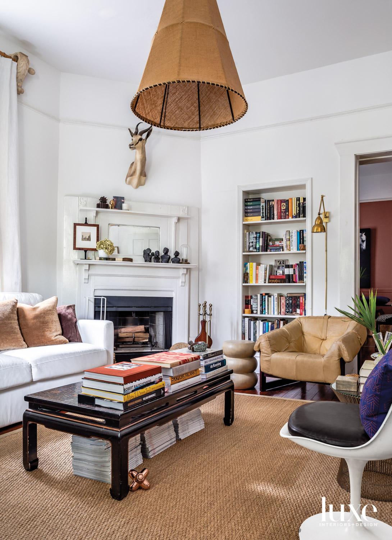 Sunlit living room with modern...