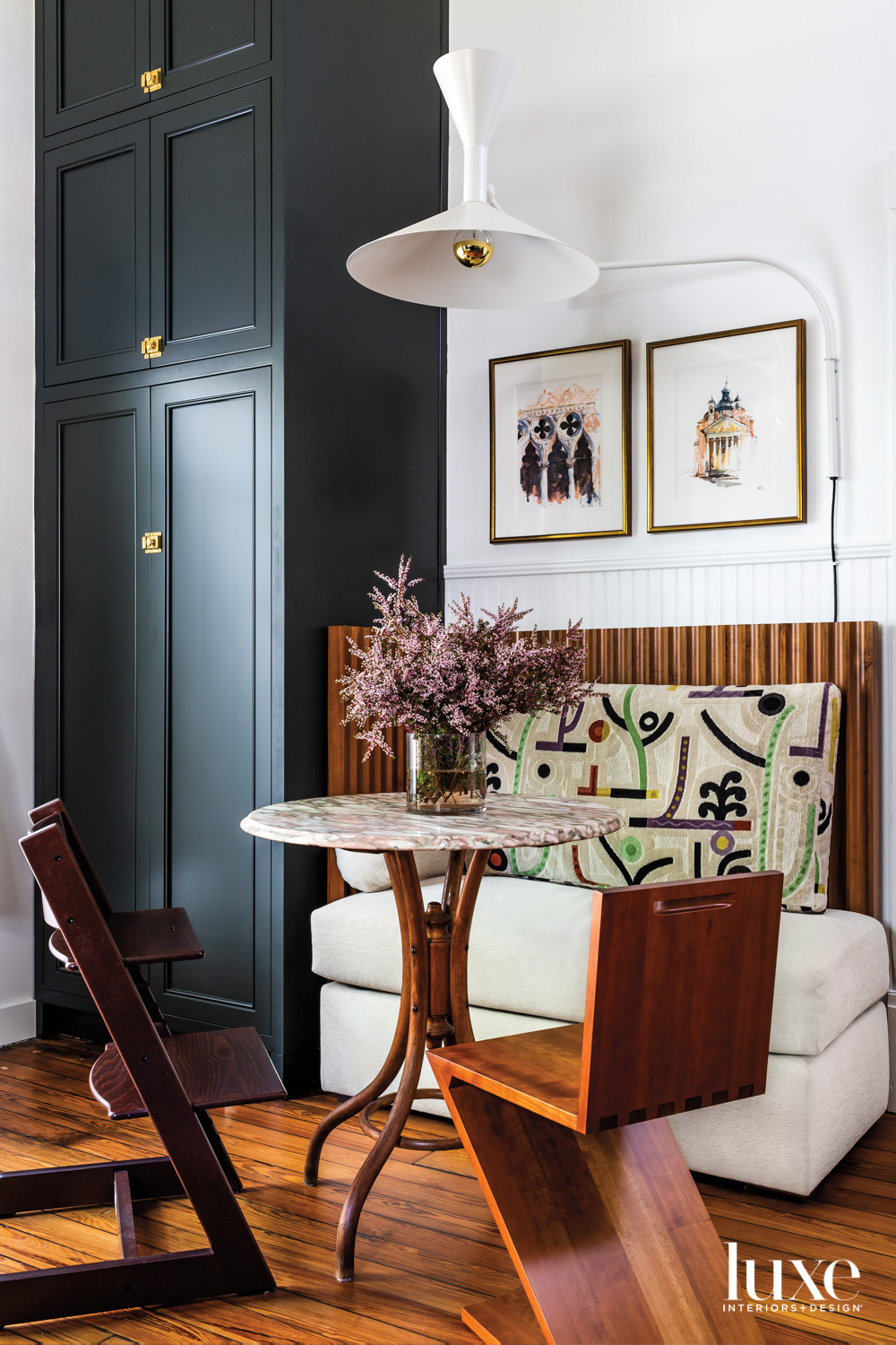 Dining nook with built-in banquette,...