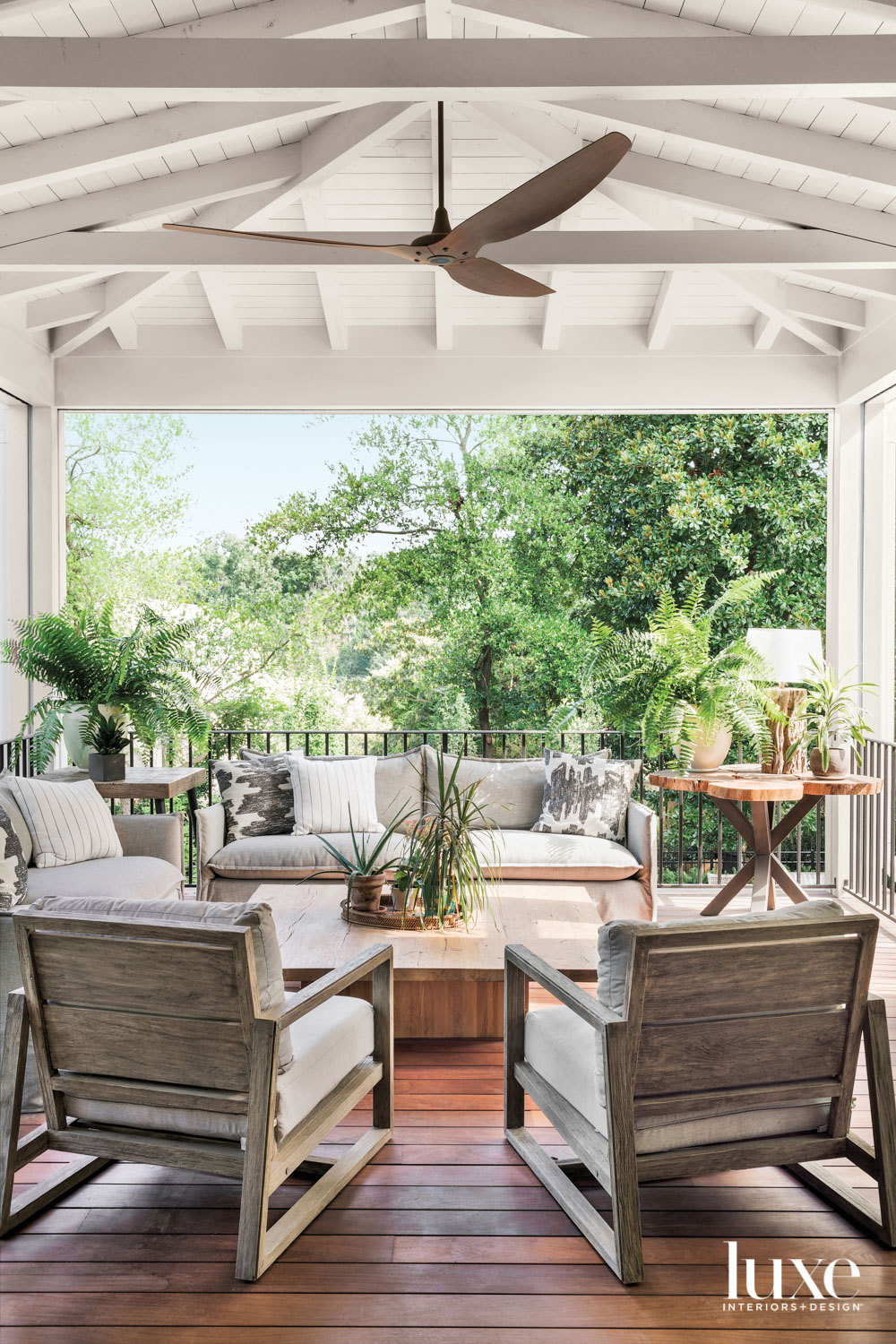 Covered porch with ceiling fan...