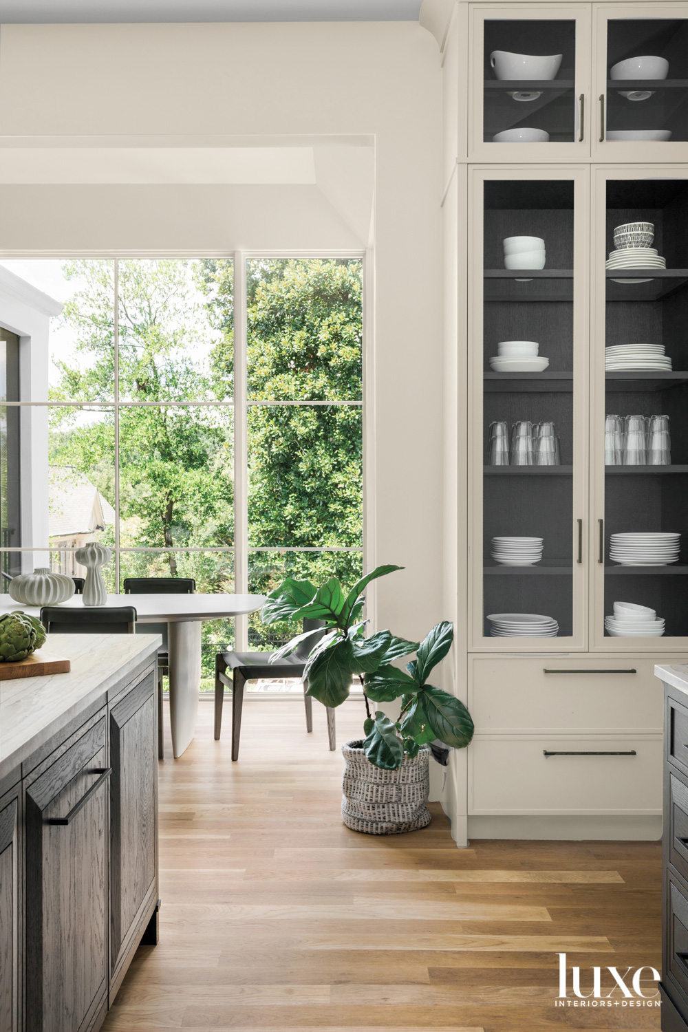 Kitchen with built-in china cabinet...
