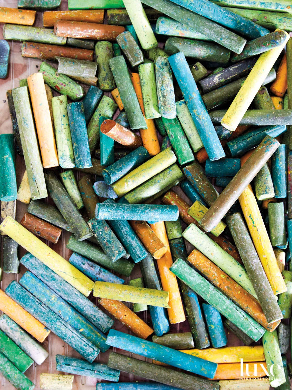 Pile of chalk pastels