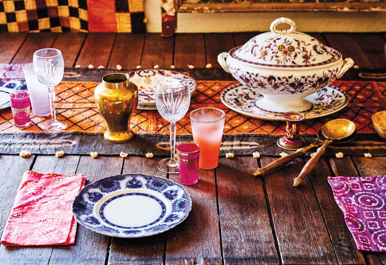 Tabletop set with eclectic china and cut glassware