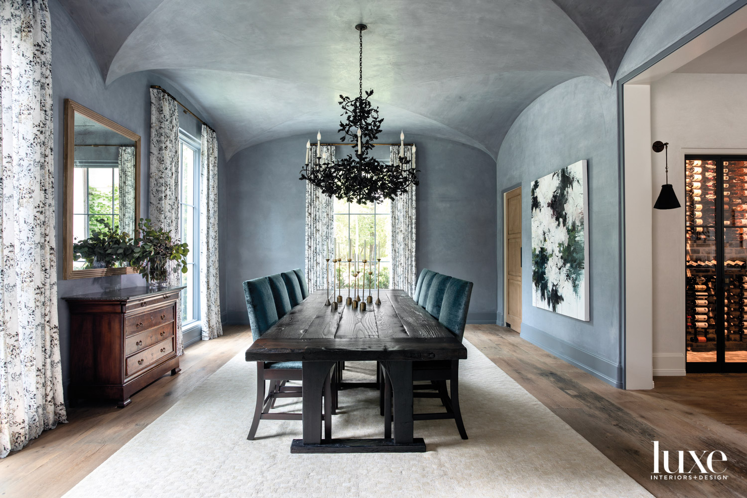 Dining room with plaster walls...
