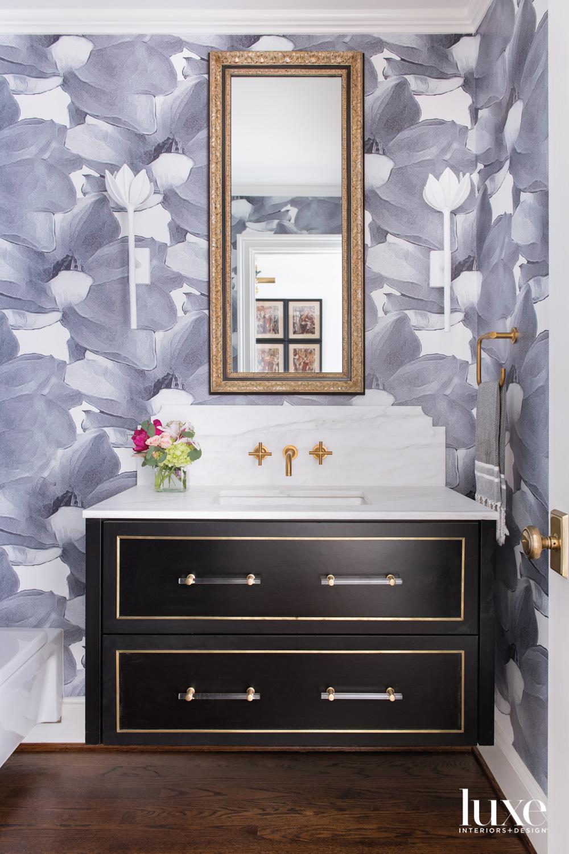 Powder bathroom with floral wallpaper