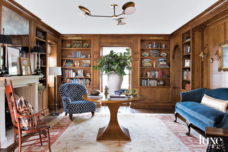Living room with dark wood...