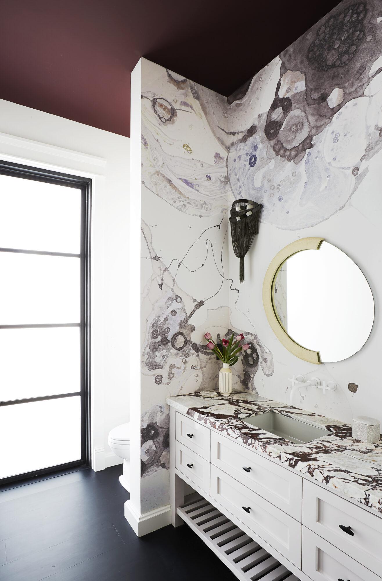 Caitlin Murray Calico wallpaper powder room