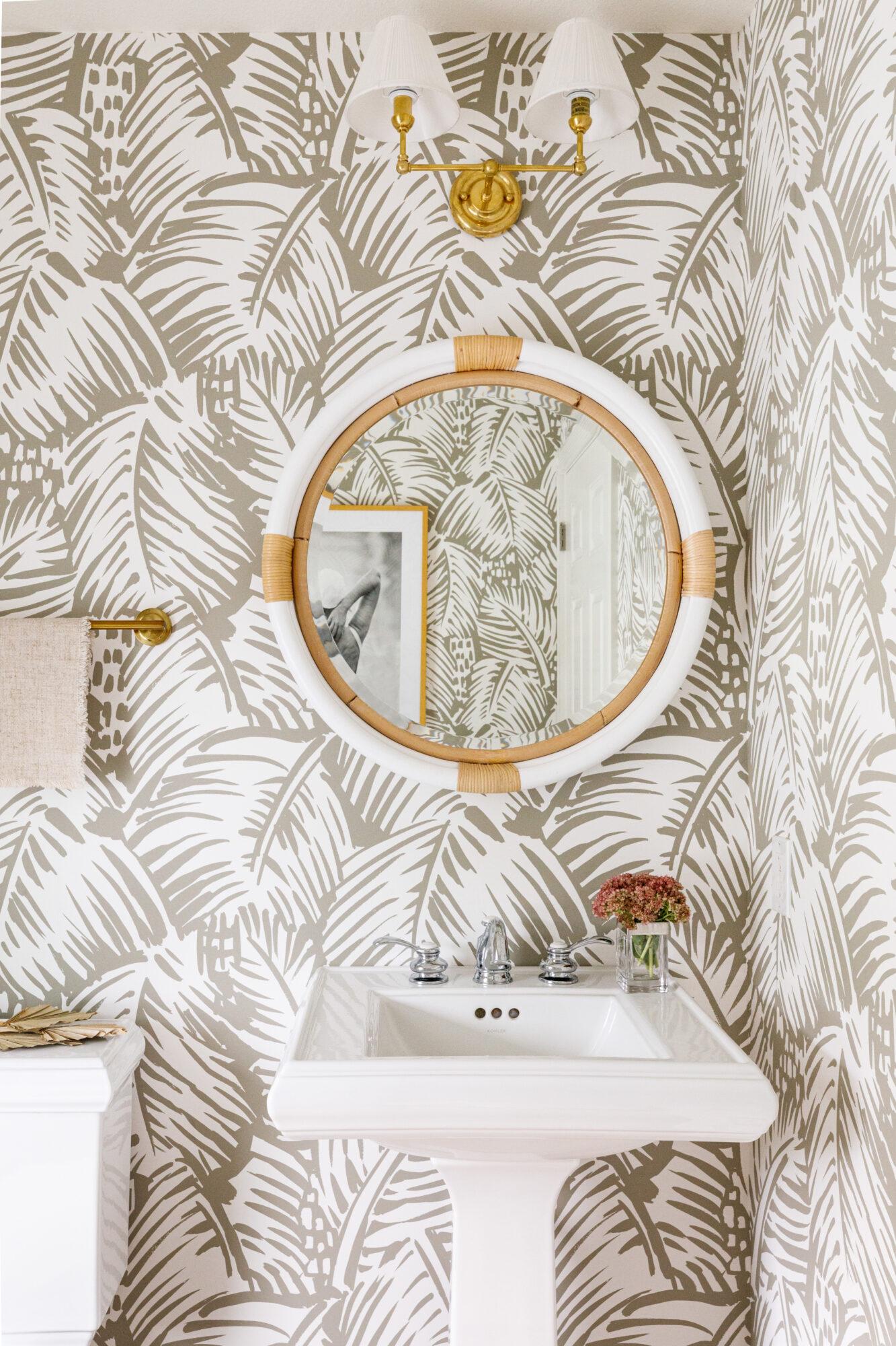 Kate Taylor Hermes Palm Wallpaper powder room
