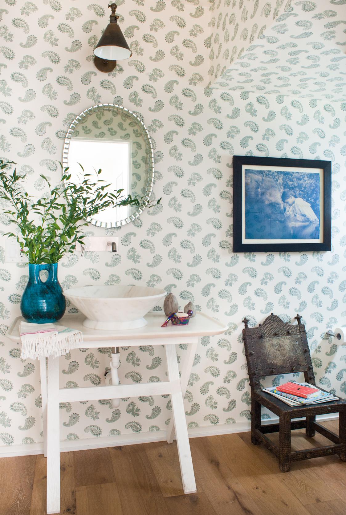 Kathryn M Ireland Quilt wallpaper powder room