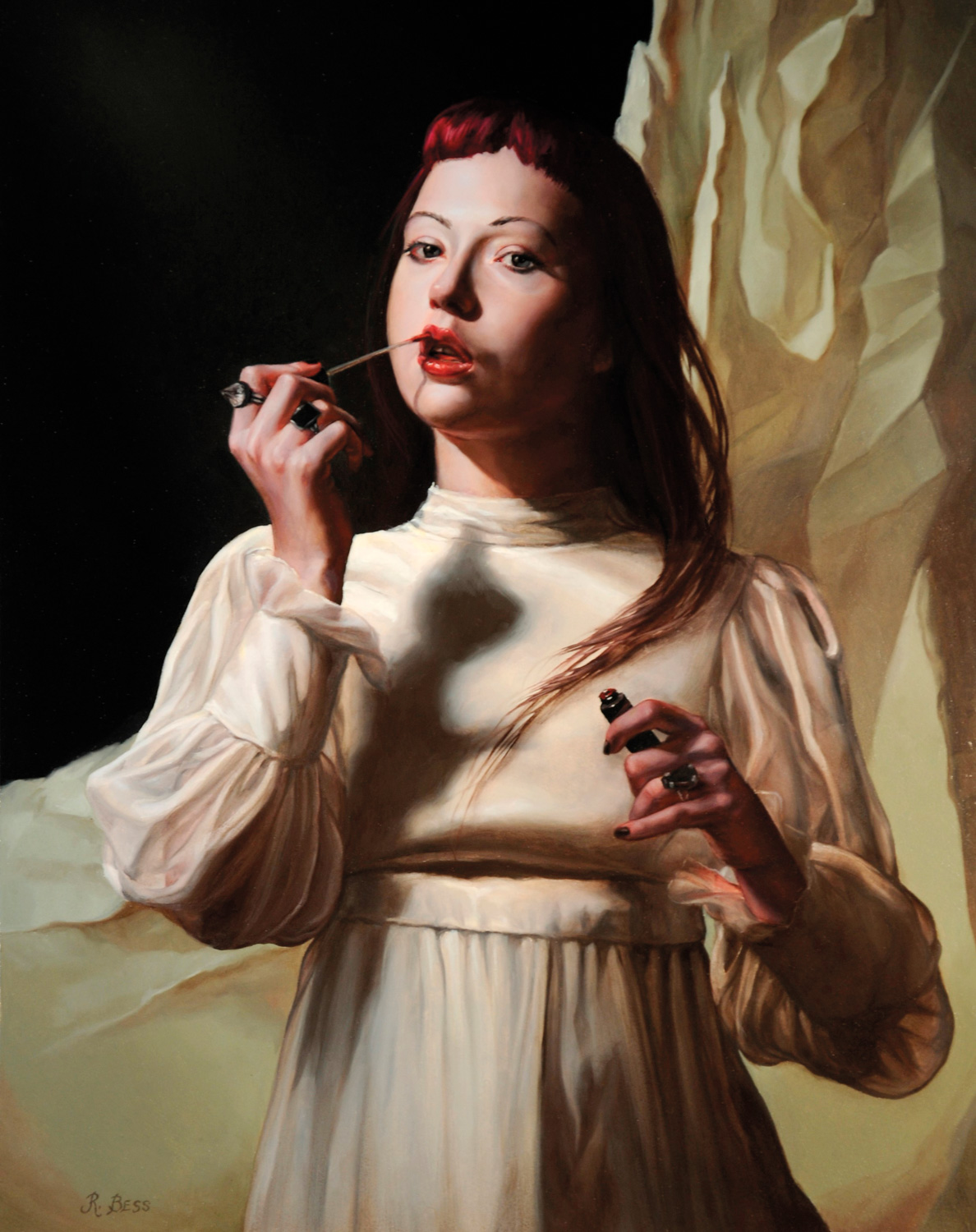 Oil painting of young woman applying lipstick