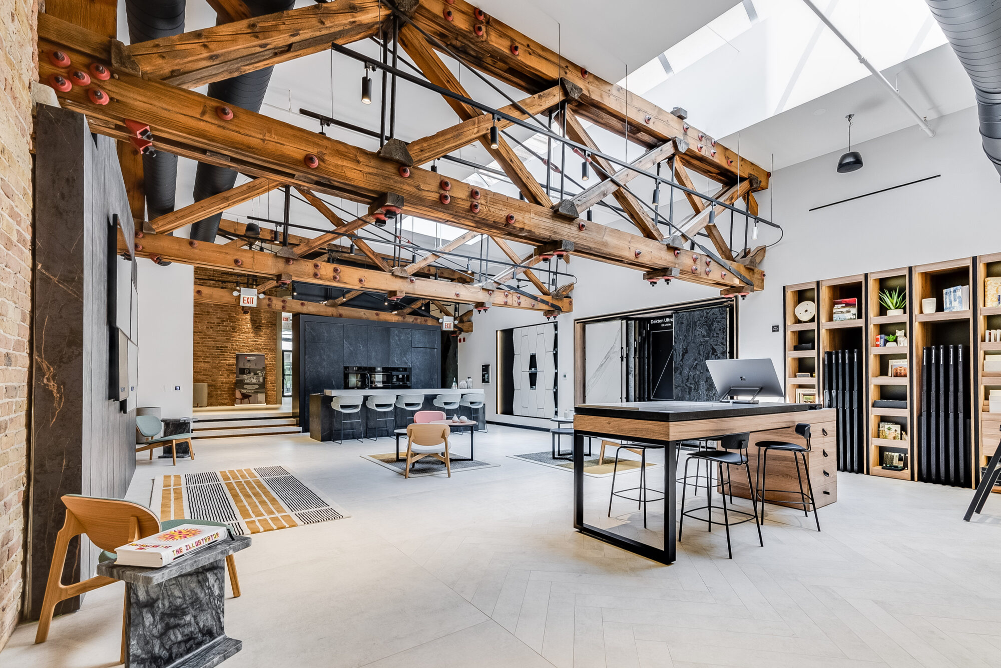 cosentino city showroom interiors with beams