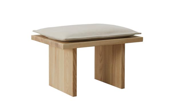 rectangular wood stool with pillow top