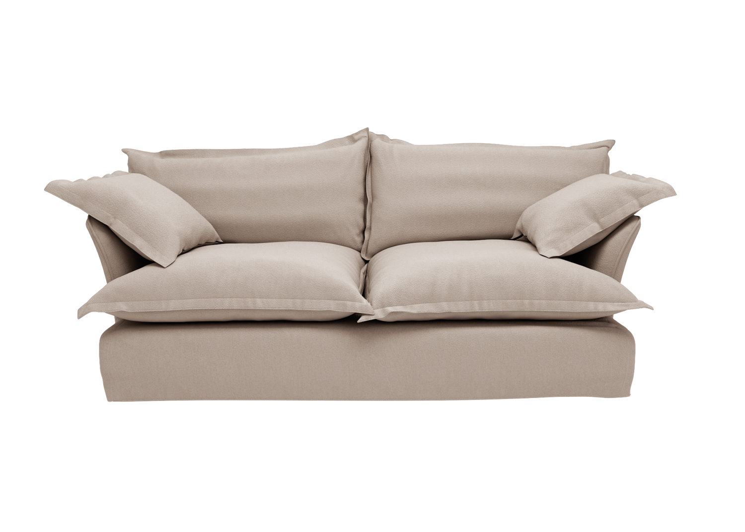taupe loveseat with plush cushions